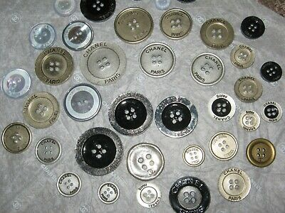 CHANEL  40  CC LOGO mixed FLAT BUTTONS MANY SIZES lot 40 AS IS 100% AUTHENTIC
