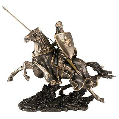 """Medieval Armored Knight & Horse Figurine Statue 12"""" Long Cold Cast Bronze New"""