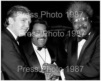 TRUMP: President Donald Trump, Al Sharpton, and Don King, 1987, 8x10 Photo
