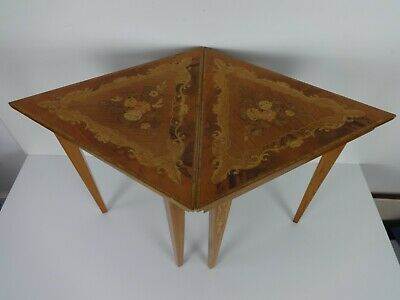 Vintage Accent Tables Pair Triangle Inlaid Marquetry Mid Century Italian Side