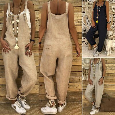 Women Casual Loose Baggy Long Trouser Jumpsuit  Romper Overall Wide Leg Pants
