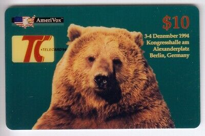 Amerique Telecarte / Phonecard .. Usa 10$ Amerivox Ours Bear Grizzly S/N° 12/94