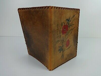 Leather Note Book Diary Cover Etched Floral Vintage A5 Size Brown Red Green