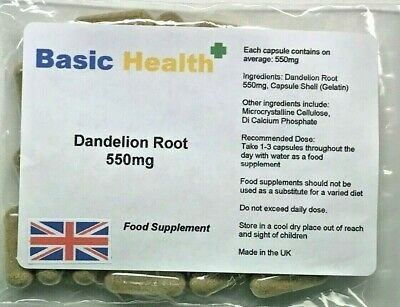 Dandelion 550mg x 120 Whole Root Capsules Water Retention Liver Detox Made in UK
