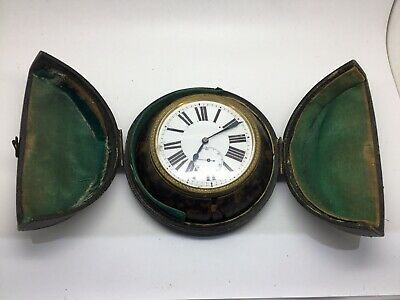 Faux Tortoiseshell Cased Travelling  Clock Victorian 1870 Spares Or Repair