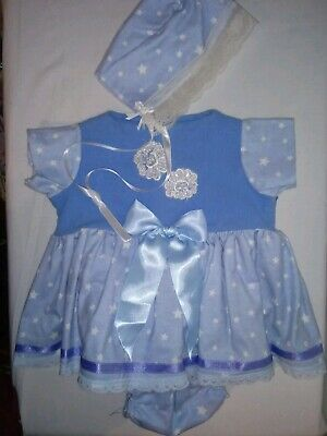 """Handmade blue/white shirt pants hat for 15-16"""" doll or cabbage patch"""