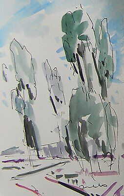 JOSE TRUJILLO Impressionism Watercolor Painting Modern ABSTRACT EUCALYPTUS TREES