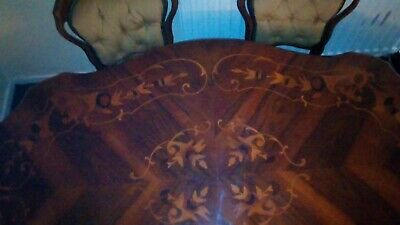 Antique  table Victorian Burr Walnut Marquetry Loo oval Table C1800's pedistal