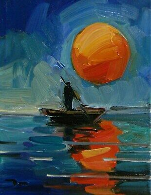 JOSE TRUJILLO OIL PAINTING Sunset Fishing Boat Tonalist Expressionism Water NR