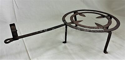 18thC antique colonial POT KETTLE FIREPLACE TRIVET RACK forged IRON Tool aafa