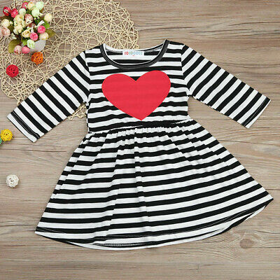 Toddler Kids Baby Girls Heart Striped Princess A Dress Sundress Outfits Clothes