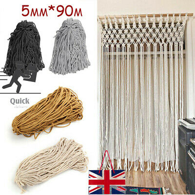 90M 5MM Natural Cotton Sewing Twisted Cord Macrame Rope Artisans String Craft