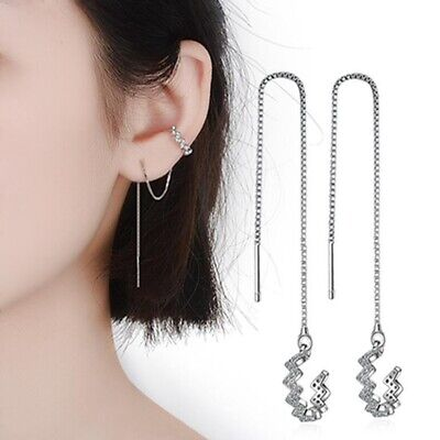 Sterling Silver Ear Crawler Climber Cuff Crystal Leaf Earring Pair Earrings LG