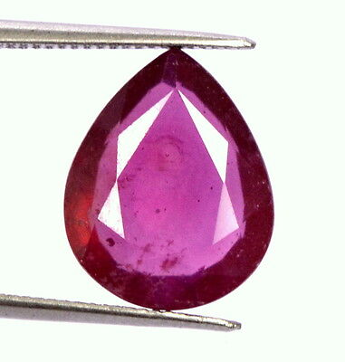 4.90 Cts Natural Ruby Pear Flatish Cut 13x10 mm Red Lustrous Loose Gemstone GF