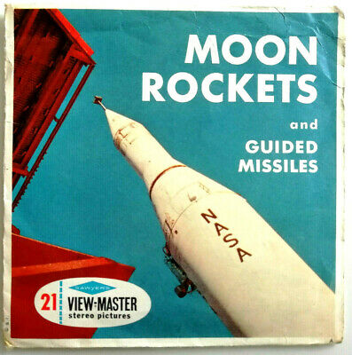 3x VIEW MASTER REEL / MOON ROCKETS and GUIDED MISSILES / + BOOKLET / NASA RAKETE