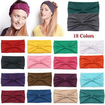 Wide Cotton Yoga Sport Knotted Headband Elastic Turban Hairband Solid Headwraps