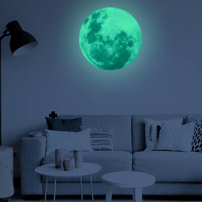 30cm 3D large Moon Glow In The Dark Fluorescent Wall Decal Sticker Removable DIY