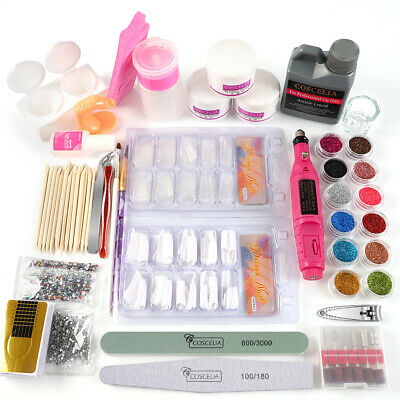 Full Acrylic Powder Nail Art Tool Starter Kit-Set Nail Tips Brush File Form DIY