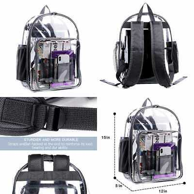 Clear Backpack Heavy Duty See Through TRANSPARENT LARGE Bookbag For College Work