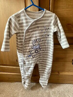 Peppa Pig Boys Fleece Babygrow All In One 0-3 Months