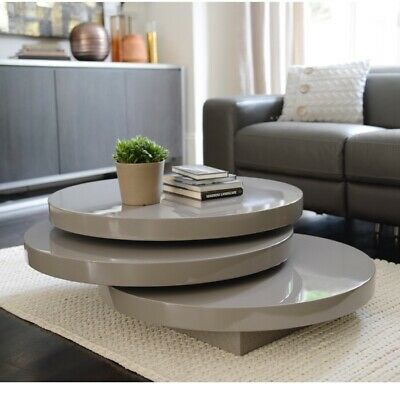 Dwell Coffee Table.Dwell Triplo Round Gloss Swivel Coffee Table Black Was 350