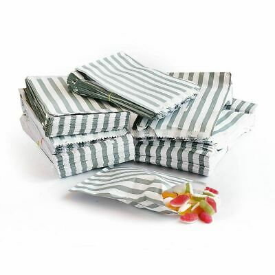 "100x Grey Candy Stripe Paper Bags Wedding Sweet Paper Bags - 7"" x 9"""