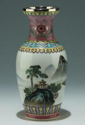Handpainted Chinese Porcelain Vase STERLING rim - 2nd Half of 20th C.   #as426