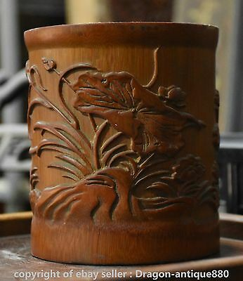 "6"" Rare Old Chinese Bamboo Hand Carving Lotus Flower Brush Pot Pencil Vase C02"