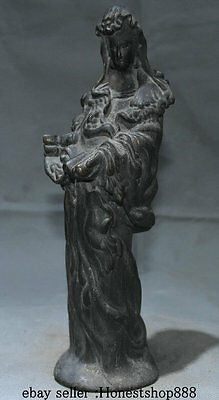 """10"""" Old Chinese Wood Hand Carving Stand Kwan-yin Guan Yin Goddess Luck Sculpture"""