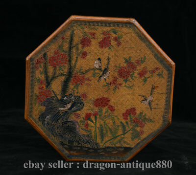 "8"" Marked Old Chinese Lacquerware Dynasty Palace Flower Bird Tree Jewelry Box"