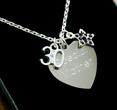 ENGRAVED Necklace Purple Star Personalised Birthday Gifts 16th 18th 21st 40th