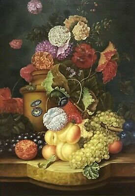 Very Large Classical Dutch Style Still Life Floral & Fruit Oil Painting