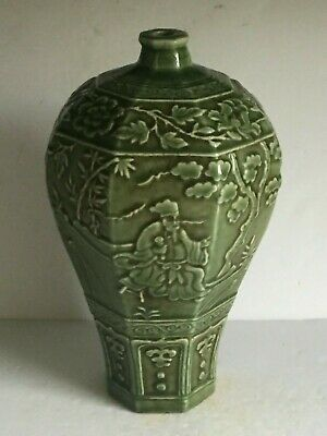 Large Antique Vintage Green Celadon Glaze Octagonal Vase Molded Relief Scene 14""