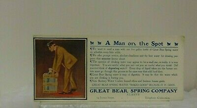 Antique Vintage Great Bear Spring Company Albany blotter w telephone connection
