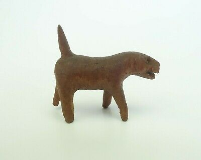 Antique Wood Hand Carved Dog Miniature Figurine Vintage Animal Carving Folk Art