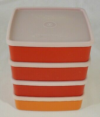 4 Tupperware 1458 Square A Way Sandwich Keepers 1459 Lid EUC