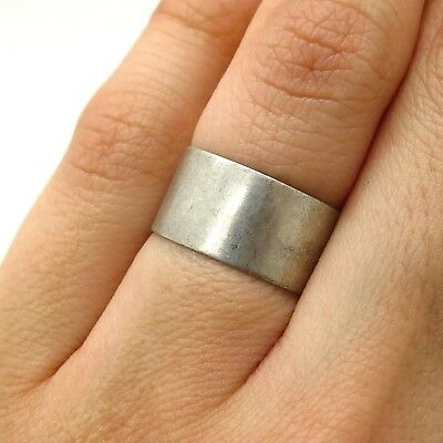 Antique Uncas 925 Sterling Silver Wide Band Ring Size 5 3/4