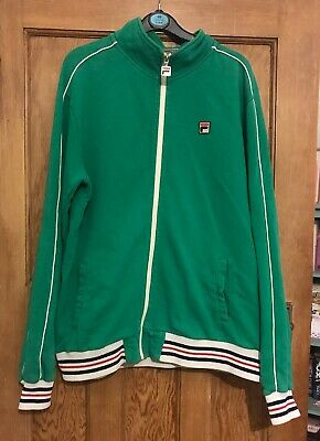 fila tracksuit top,green,retro,90's,cool,hipster,fashion,size XL