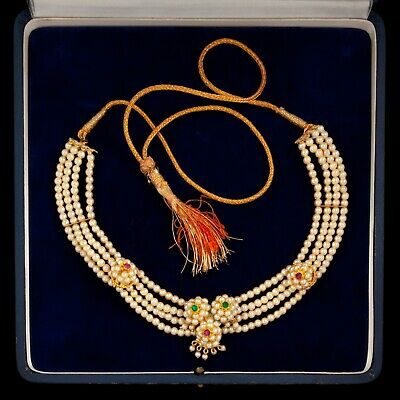Antique Vintage Art Deco Mid Century Gold Wash India Wedding Rajasthan Necklace