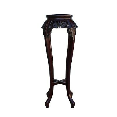 Chinese Red Brown Mahogany Mother of Peal Round Curved Leg Pedestal Stand cs5256