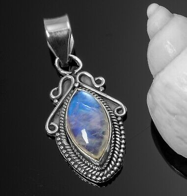 New Marquise MOONSTONE 925 Sterling Silver Gemstone Necklace Pendant Gift Boxed