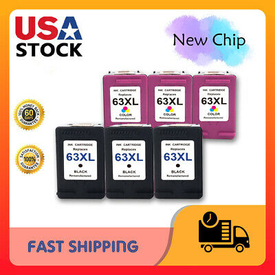 New Chip #63XL Ink for HP Envy 4520 4525 4528 Officejet 4652 3830 5255 5258