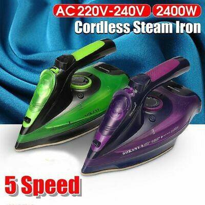 🔥 2400W Electric Cordless Steam Iron Charging Clothes Ironing Laundry Anti-drip