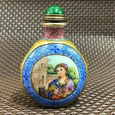 Rare Old Collectible Chinese Coloured Glaze Western Belle Handwork Snuff Bottle