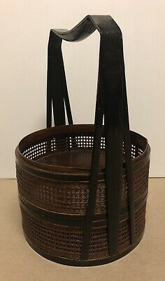 Vintage Chinese Wedding Basket Woven Bamboo Stacking Hand Painted Incomplete Set
