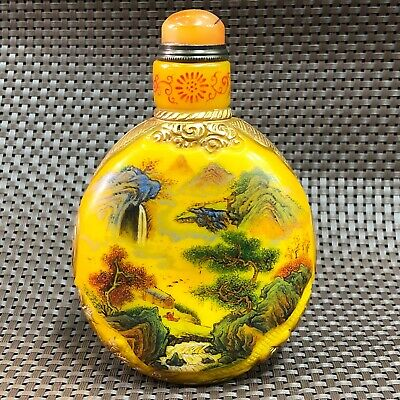 Collectible Chinese Handwork Yellow Coloured Glaze Landscape Old Snuff Bottle