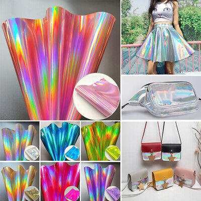 Holographic Rainbow Laser PU Leather Fabric Sheets Laser Fabric Hair Bows DIY