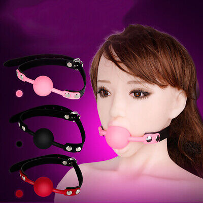 Womens Silicone Mouth Ball Gag Leather Restraint Strap BDSM Stuffed Flirting Toy