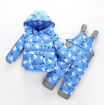 2pcs Toddler Boys Girls Puffer Down Jacket Hooded Warm Thick Coat Pants Snowsuit