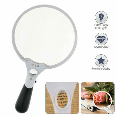 Handheld Reading Magnifier 25X Magnifying Glass With 3 LED Lights Extra Large